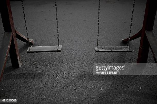 Swings covered by ash from the Calbuco Volcano in La Ensenada, southern Chile, on April 26, 2015. A sleeping giant for more than 50 years, Calbuco...