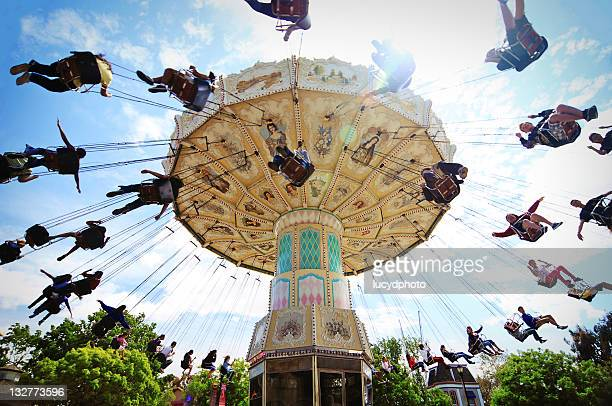 swings ride at great america amusement park - santa clara county california stock pictures, royalty-free photos & images