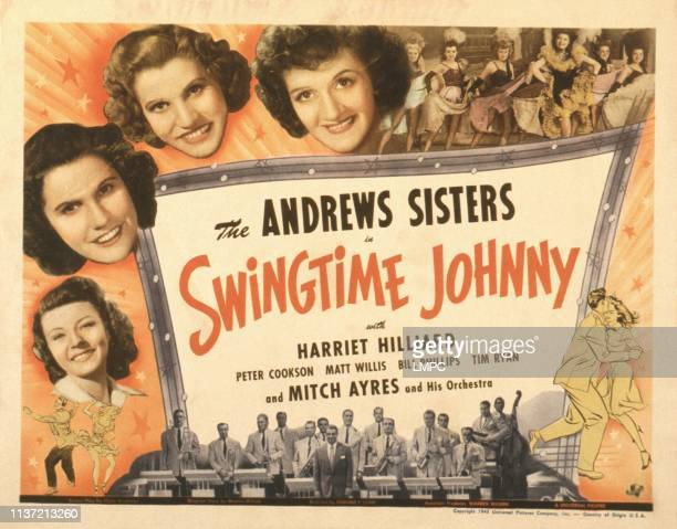 Swingtime Johnny poster US poster from left Harriet Hilliard Maxene Andrews Patty Andrews Laverne Ansrews 1943