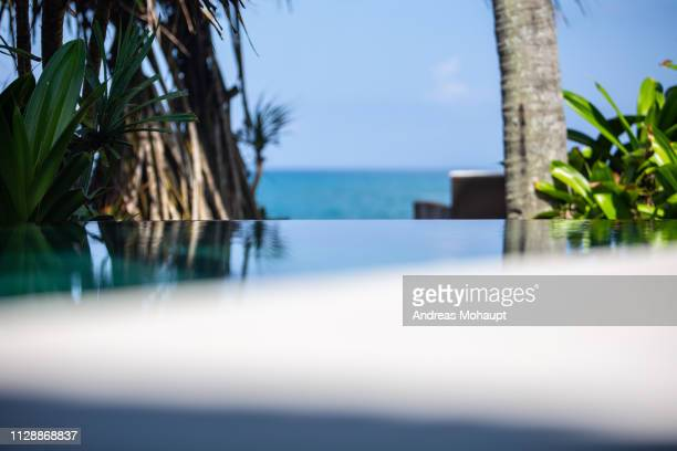swinning pool in the front and beautiful sea view. - gesunder lebensstil stock pictures, royalty-free photos & images