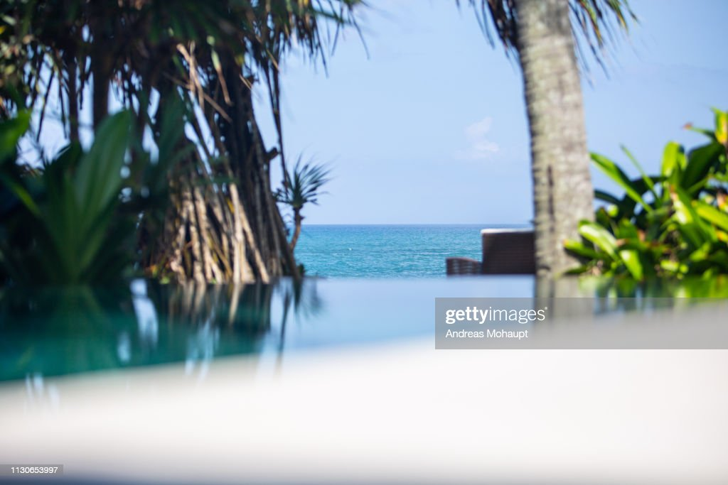 Swinning pool in the front and beautiful sea view. : Stock Photo