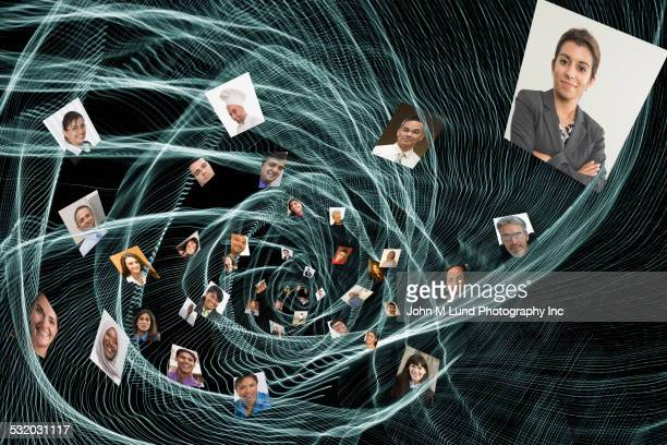 swirling faces of business people - クラウドソーシング ストックフォトと画像