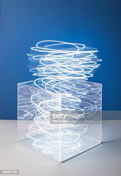 Swirling light from a clear box