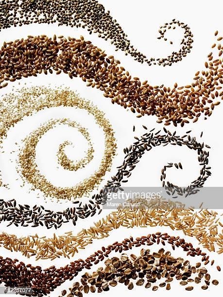 Swirls of Seven Grains on White Background