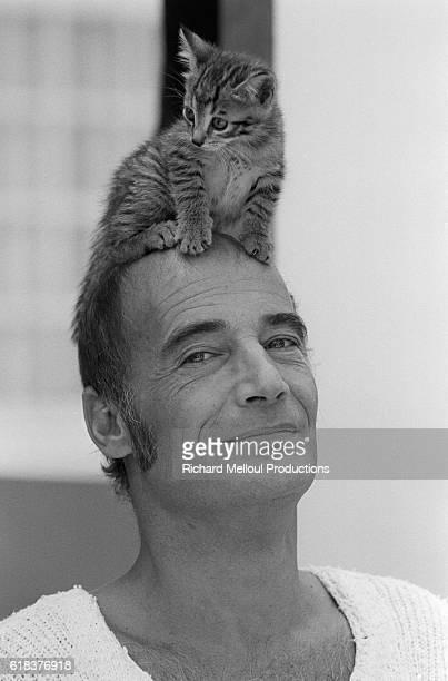 Swiss Actor Bernard Haller with a Kitten