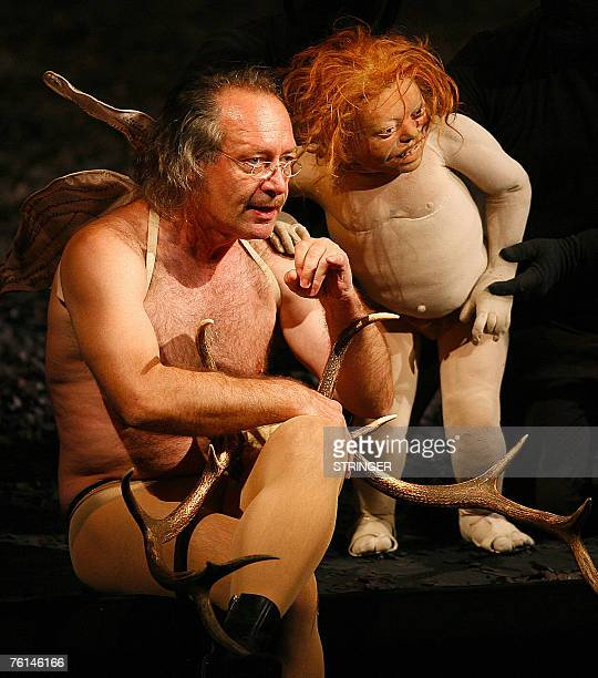 Swiss actor Robert HungerBuehler as 'Oberon' and 'Puck' perform during a rehearsal of William Shakespeare's 'A Midsummer Night's Dream' as part of...