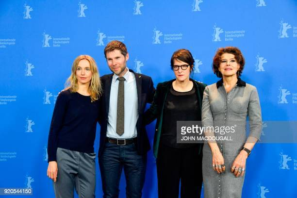 Swiss actres Ursina Lardi Swiss Producer Lionel Baier FrenchSwiss Director and screenwriter Ursula Meier and French actress Fanny Ardant pose during...