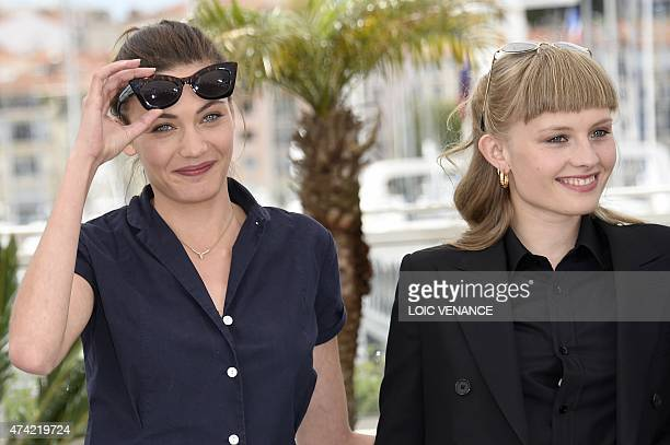Swiss actress Aomi Muyock and Danish actress Klara Kristin smile during a photocall for the film Love at the 68th Cannes Film Festival in Cannes...