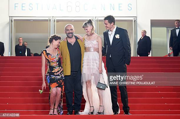 Swiss actress Aomi Muyock Argentinian director Gaspar Noe Danish actress Klara Kristin and US actor Karl Glusman laugh as they arrive for the...