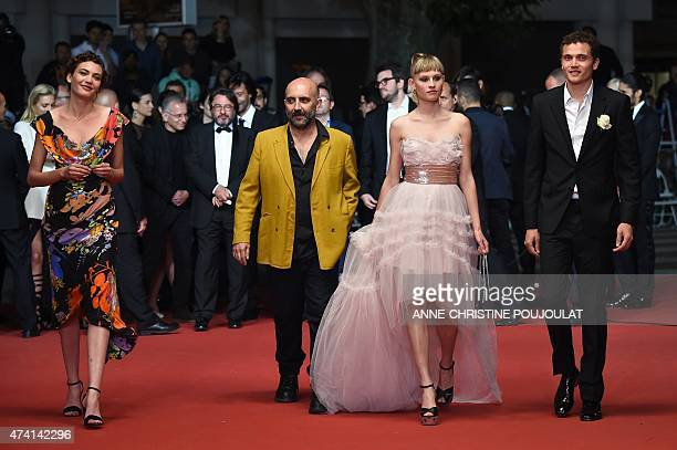 Swiss actress Aomi Muyock Argentinian director Gaspar Noe Danish actress Klara Kristin and US actor Karl Glusman arrive for the screening of the film...