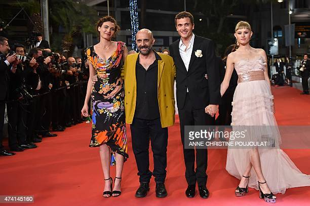 Swiss actress Aomi Muyock Argentinian director Gaspar Noe Danish actress Klara Kristin and US actor Karl Glusman pose as they arrive for the...
