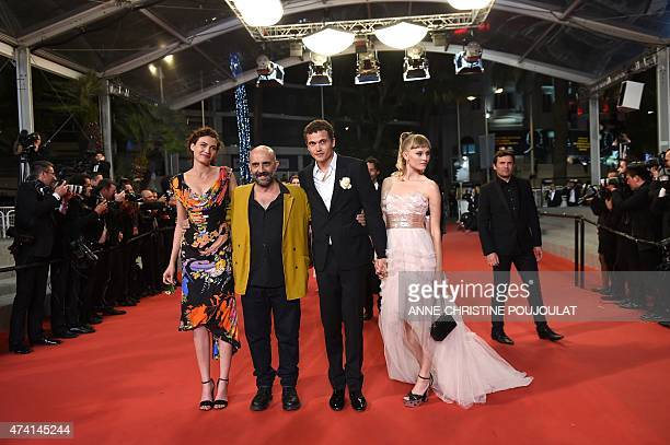 Swiss actress Aomi Muyock Argentinian director Gaspar Noe US actor Karl Glusman and Danish actress Klara Kristin pose as they arrive for the...