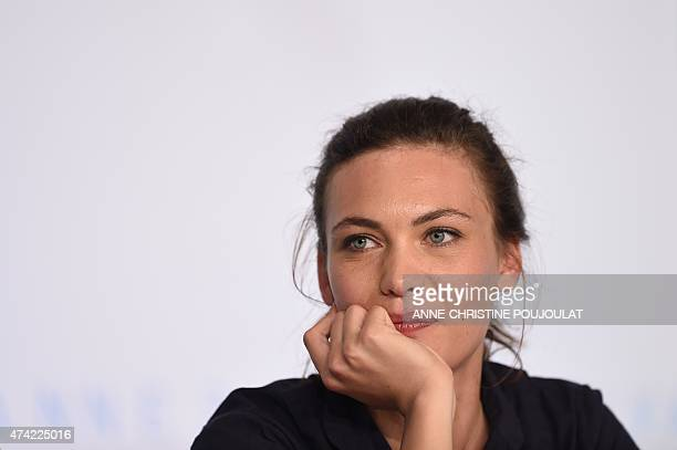Swiss actress Aomi Muyock attends a press conference for the film Love at the 68th Cannes Film Festival in Cannes southeastern France on May 21 2015...