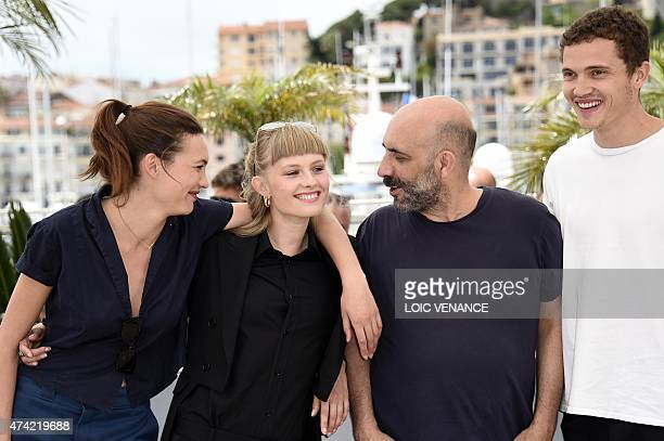 Swiss actress Aomi Muyock Danish actress Klara Kristin Argentinian director Gaspar Noe and US actor Karl Glusman laugh during a photocall for the...