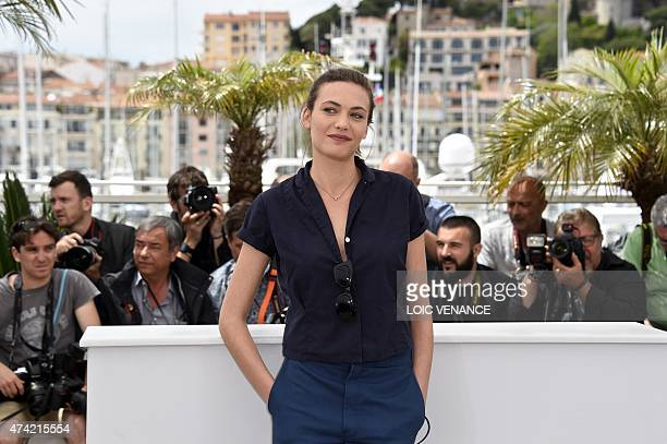 Swiss actress Aomi Muyock poses during a photocall for the film Love at the 68th Cannes Film Festival in Cannes southeastern France on May 21 2015...