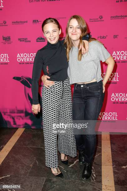 Swiss actress Jasna Fritzi Bauer and director Helene Hegemann attends the 'Axolotl Overkill' Berlin Premiere at Volksbuehne RosaLuxemburgPlatz on...