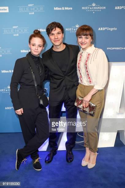 Swiss actress Jasna Fritzi Bauer German actor Sebastian Urzendowsky and his sister Lena Urzendowsky attend the Blue Hour Reception hosted by ARD...