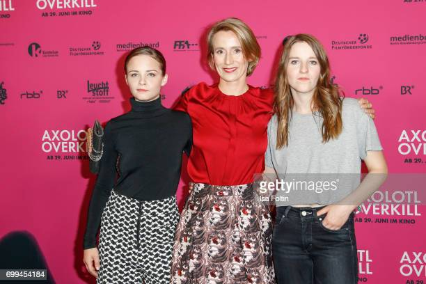 Swiss actress Jasna Fritzi Bauer producer Hanneke van der Tas and German director Helene Hegemann attend the 'Axolotl Overkill' Berlin Premiere at...