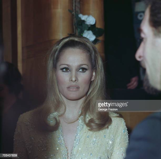 Swiss actress Ursula Andress attends a Royal Film Performance of 'Born Free' at the Odeon Leicester Square London 14th March 1966