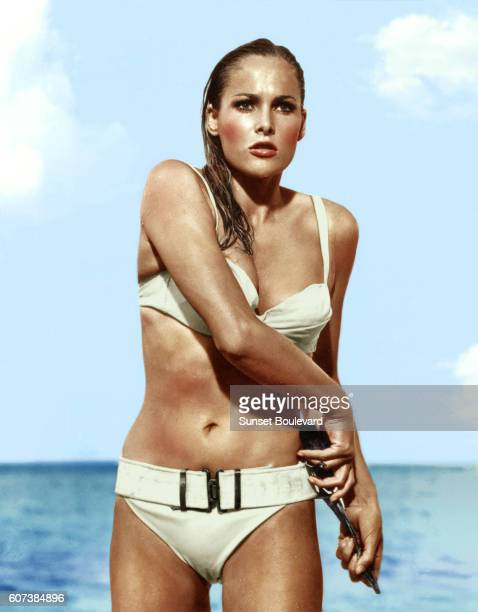 Swiss actress Ursula Andress plays the role of Honey Ryder in director Terence Young's 1962 James Bond movie Dr No known in French as James Bond...