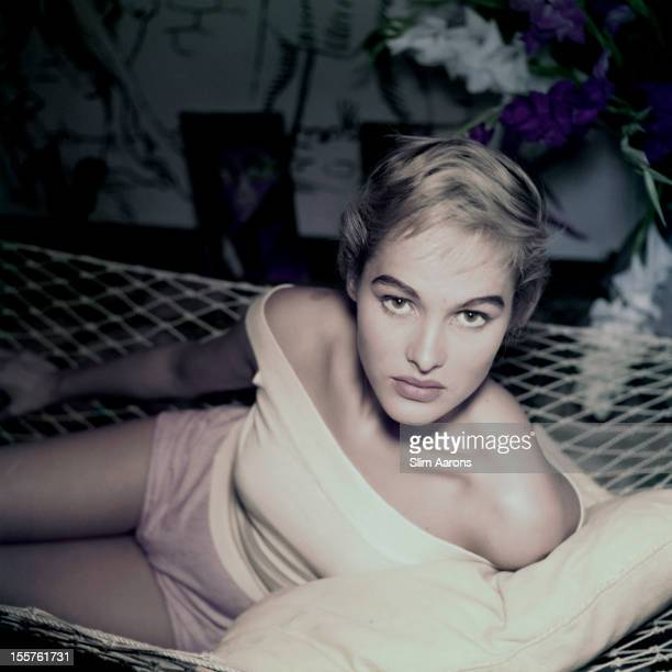 Swiss actress Ursula Andress poses in a hammock in Rome Italy circa 1955