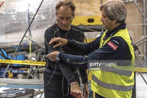 Swiss adventurer Andre Borschberg is seen in prepation prior to the take off of Solar Impulse 2 the solar airplane from Tulsa International Airport...
