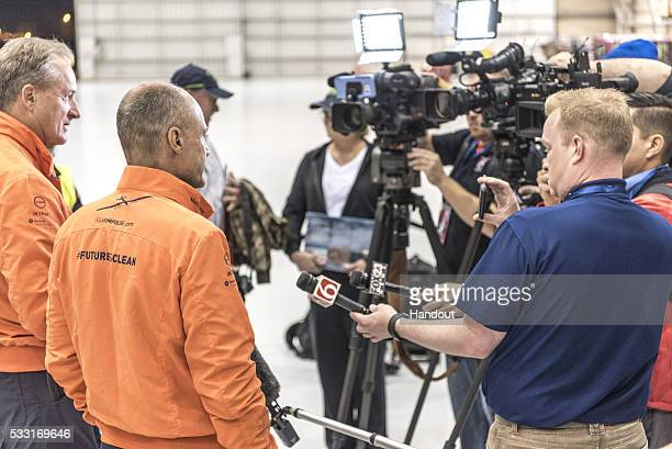 Swiss adventurers Andre Borschberg and Bertrand Piccard during a news conference prior to the take off of Solar Impulse 2 the solar airplane from...