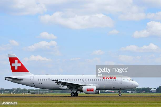 Swiss airlines plane taking off