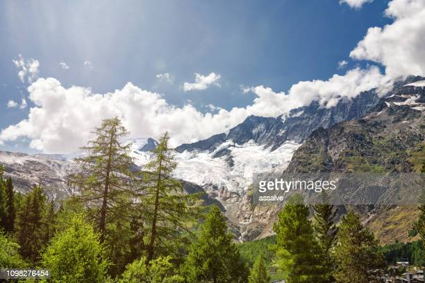 Swiss alp panorama with glaciers at Saas Fee in summer