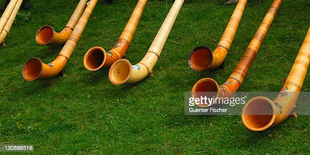 Swiss Alphorns at a Swiss folk festival, Valais, Switzerland, Europe