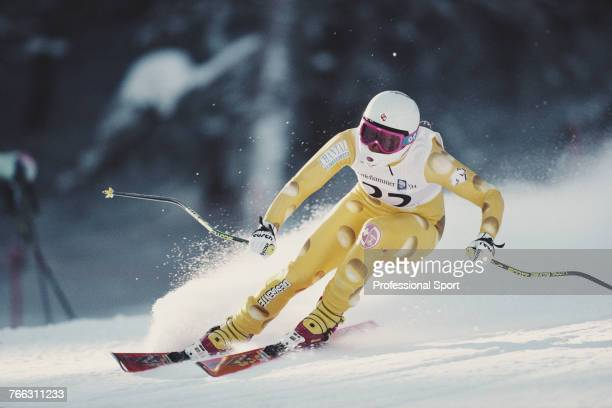 Swiss alpine skier Chantal Bournissen pictured competing for the Switzerland team in the Women's super-G skiing event held at Kvitfjell during the...