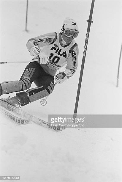 Swiss alpine skier Erika Hess pictured during competition to finish in first place in the Women's slalom event during the FIS Alpine World Ski...