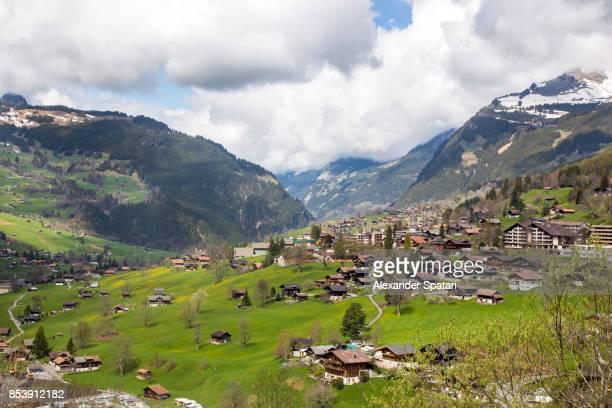 Swiss Alps and Grindelwald village, Bernese Oberland, Switzerland