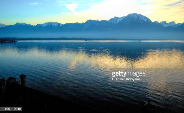 swiss alps on lake geneva, switzerland - montreux stock pictures, royalty-free photos & images