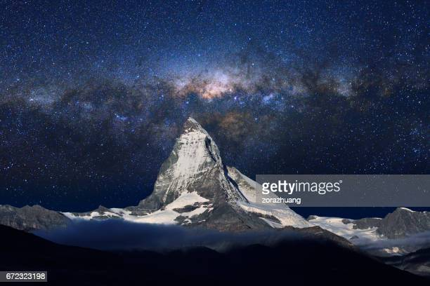 Swiss Alps's Matterhorn in Midnight Sky
