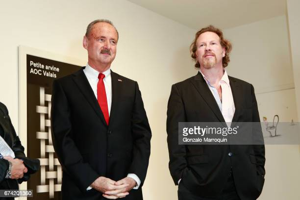 Swiss Ambassador Andre Schaller and Gregory De La Haba attend the Swiss Wine Valais Loves New York hosted by Gregory de la Haba Billy The Artist...