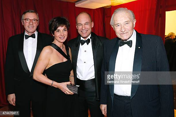Swiss ambassador to the USA and Committee Chair of 'La Nuit des Neige' Francois Barras psychiatrist and aeronaut Bertrand Piccard with his wife...