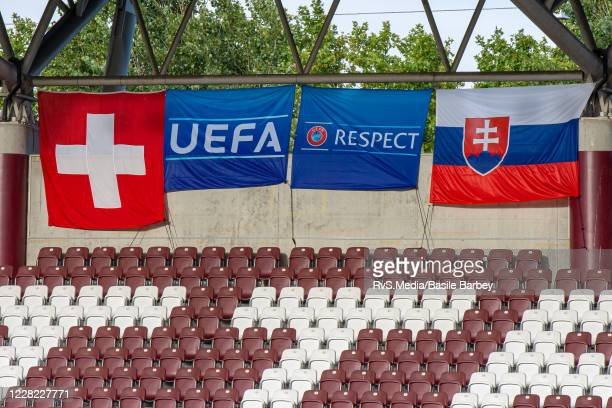 Swiss and Slovak flags are being shown prior the UEFA Europa League qualification match between Servette FC and MFK Ruzomberok at Stade de Geneve on...