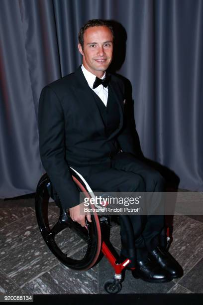 Swiss Athlete the most medalist at the Paralympic Games Marcel Hug attends the 'Snow Night La Nuit des Neiges' Charity Gala on February 17 2018 in...