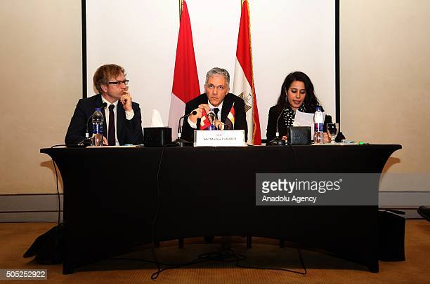 Swiss attorney General Michael Lauber gives a speech during a press conference within his visitation in Cairo Egypt on January 16 2016