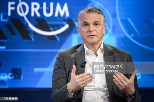 Swiss bank giant UBS CEO Sergio Ermotti attends a session during the World Economic Forum annual meeting on January 24 2019 in Davos eastern...