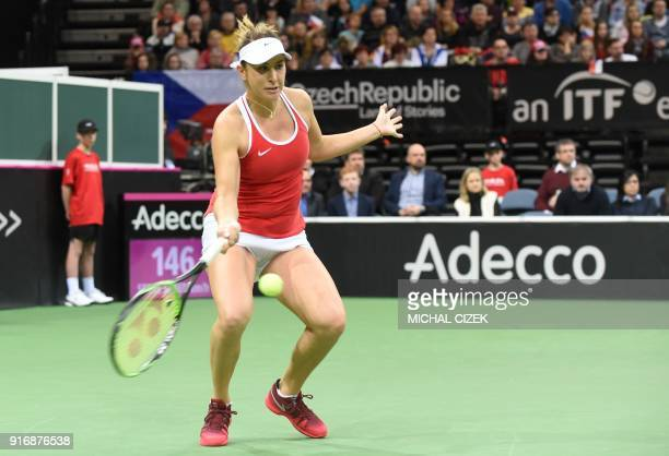 Swiss Belinda Bencic returns the ball to Czech Petra Kvitova during the Federation Cup World Group first round tennis match between Czech Republic...