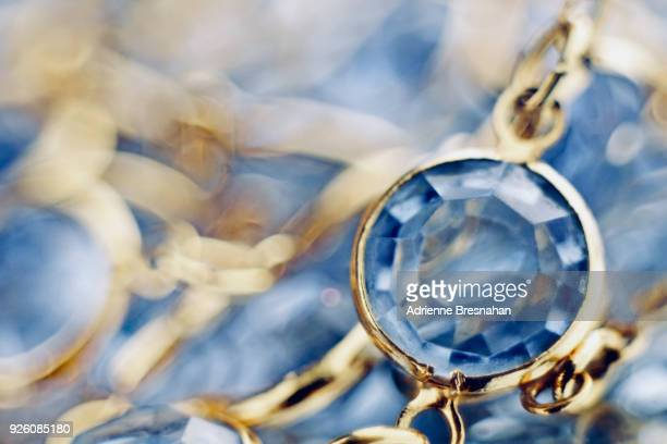 swiss blue topaz necklace, close-up - topaz stock photos and pictures