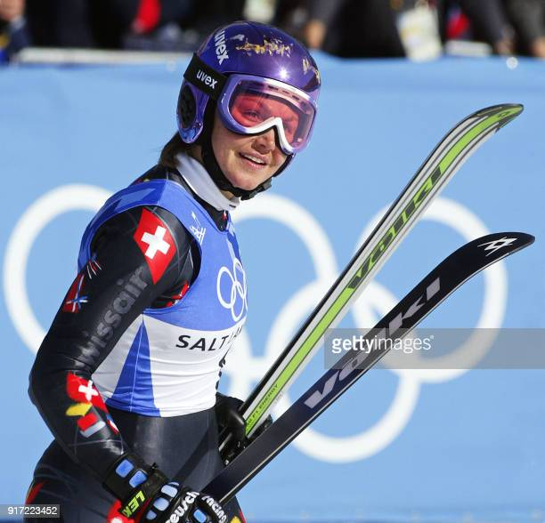 Swiss bronze medalist Sonja Nef smiles after the women's giant slalom 2nd run for the Salt Lake 2002 Winter Olympics 22 February 2002 at Park City...