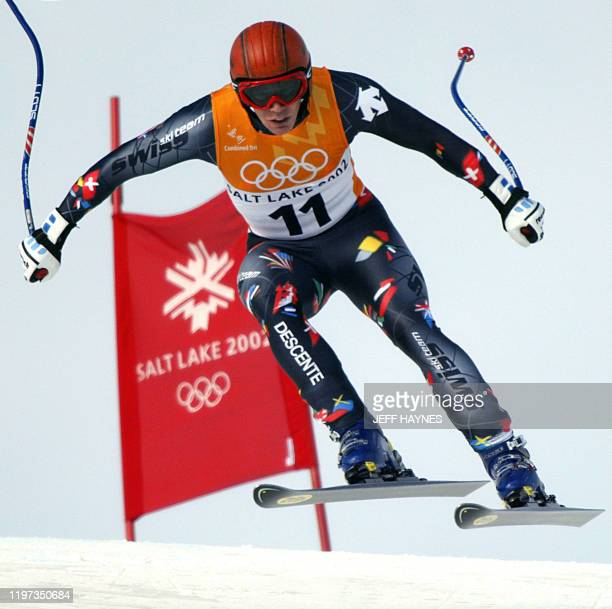 Swiss Bruno Kernen in action during the men's combined downhill for the 2002 Salt Lake City Olympic Winter Games in Snowbasin 13 February 2002 AFP...