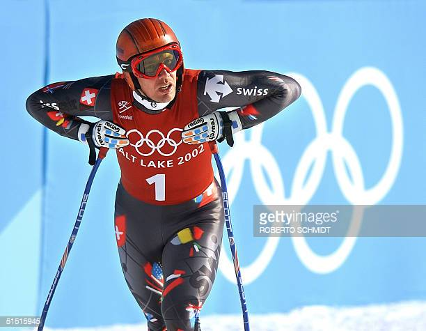 Swiss Bruno Kernen reacts after his downhill 2nd training run for the 2002 Olympic Men's Downhill in Snowbasin 09 February 2002 AFP PHOTO ROBERTO...