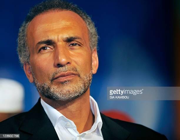 Swiss citizen of Egyptian origin Muslim intellectual and professor Tariq Ramadan gives a speech on August 26 2011 at the Treichville sports parc a...