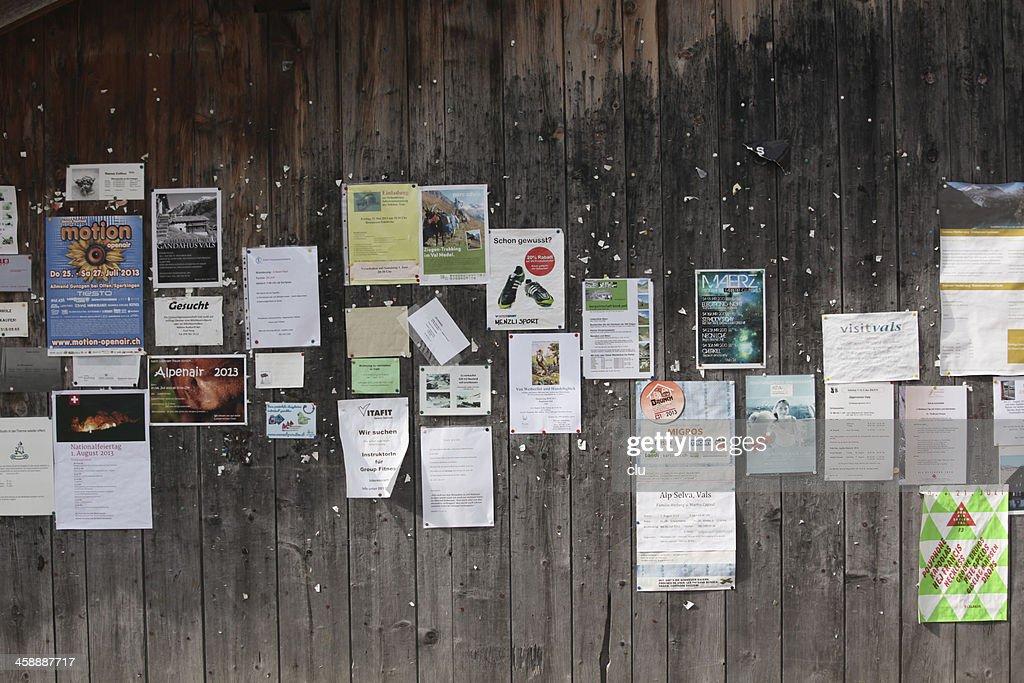 Swiss community information board in public : Stock Photo