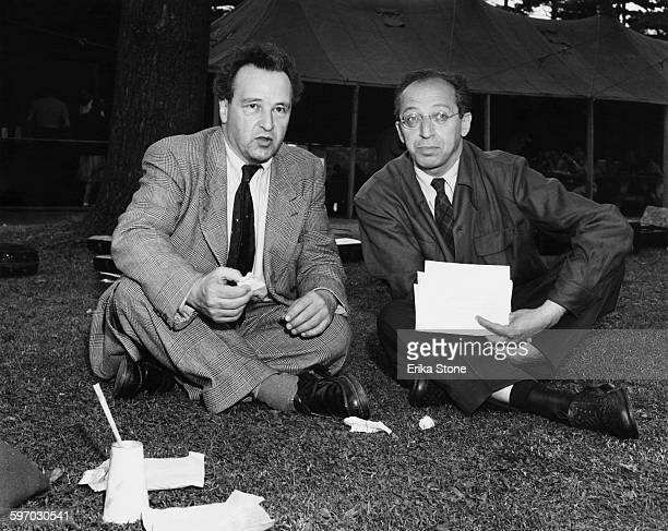 Swiss composer Arthur Honegger with American composer and music teacher Aaron Copland at Tanglewood the summer home of the Boston Symphony Orchestra...