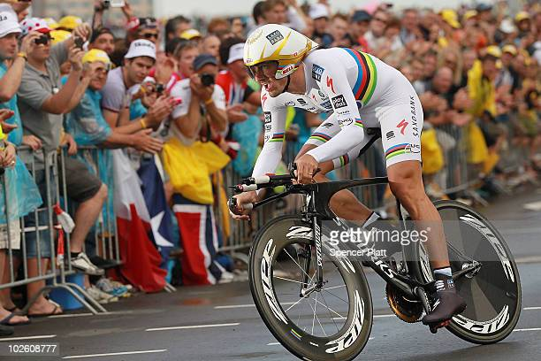 Swiss cyclist Fabian Cancellara races through an 8.9 time trial course during the prolouge for the 97th Tour de France on July 3, 2010 in Rotterdam,...
